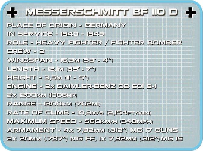 COBI Messerschmitt BF110 D (5716) Tch sheet