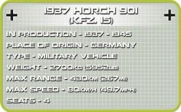 Cobi 1937 Horch 901(KFZ.15) set (2256) Specs