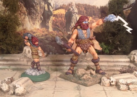 High Heavens board game Thor Norse mythology 28mm next to Frost Giant Reaper