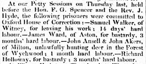 """James Ward, of Aston, for bastardy, 3 months hard labour,"" Oxford University and City Herald, 15 Oct 1831 - britishnewspaperarchive.co.uk"