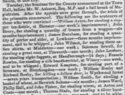 """James Ward, Philip Ball, and John Fisher, for stealing wheat, at Aston and Coate—one month,"" - Berkshire Chronicle, 24 Oct 1829 - britishnewspaperarchive.co.uk"
