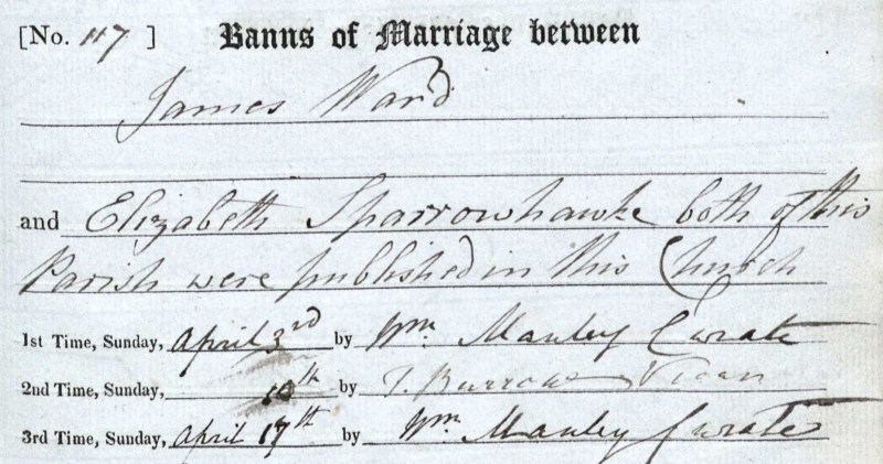 James Ward and Elizabeth Sparrowhawk, Marriage Banns, April 1830 Bampton, Oxfordshire