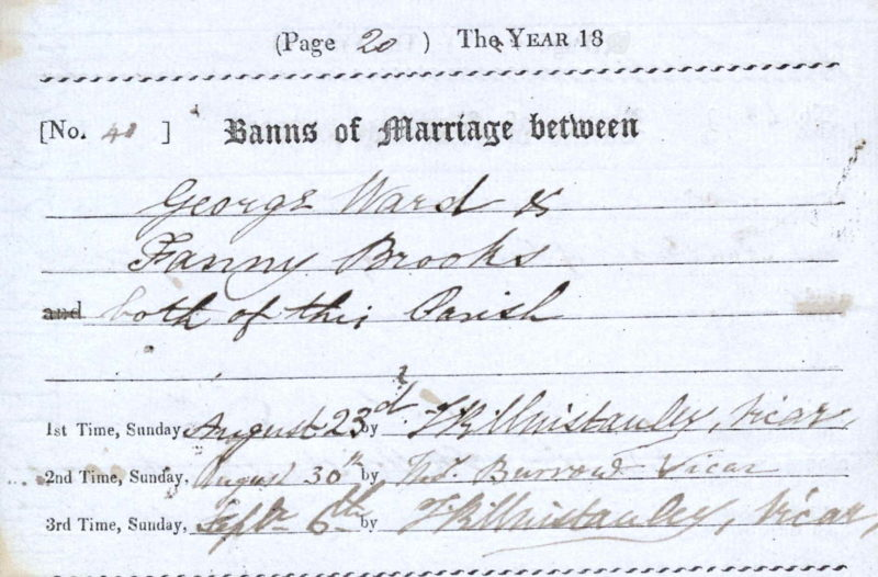 George Ward and Fanny Brooks, Banns of Marriage, 23 Aug, 30 Aug, 6 Sep 1835, Shifford, Oxfordshire