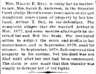 Maggie Bell sues mil Sarah Anderson The Indianapolis Journal 7 Apr 1881 p8c2
