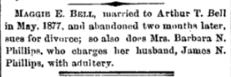 Maggie and Arthur Bell divorce The Indianapolis Journal 16 Sep 1879