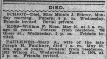 Mary Brooks Faulkner death Indianapolis News 30 May 1904