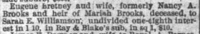 Nancy Bretney, heir of Mariah Brooks, to Sarah E Williamson, interest in 1 10 Ray and Blakes sub, 18 Oct 1872