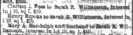 Clarissa J Ross and Mary A Randolph and Henry Brooks to Sarah E Williamson, each interest in lot 10 sq 1, Ray and Blake's, 28 May 1872