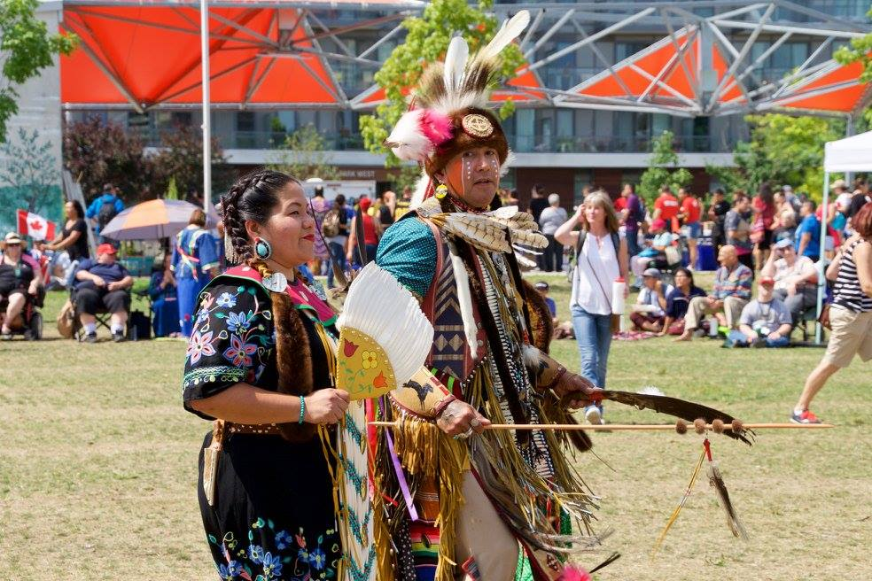 Two Indigenous Dancers at the 2017 Toronto Council Fire Youth Pow Wow in Regent Park