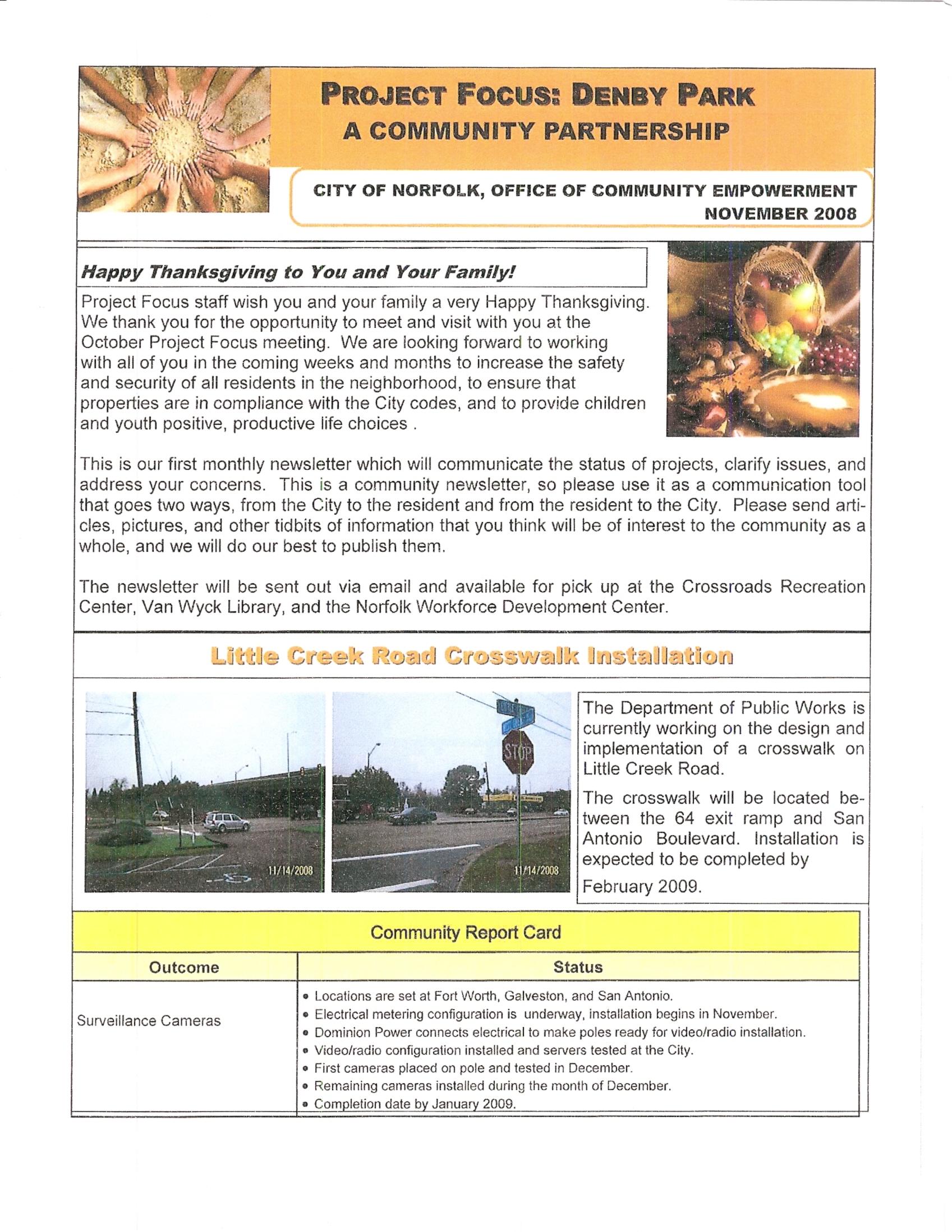 Project Focus Denby Park November Newsletter pg.1