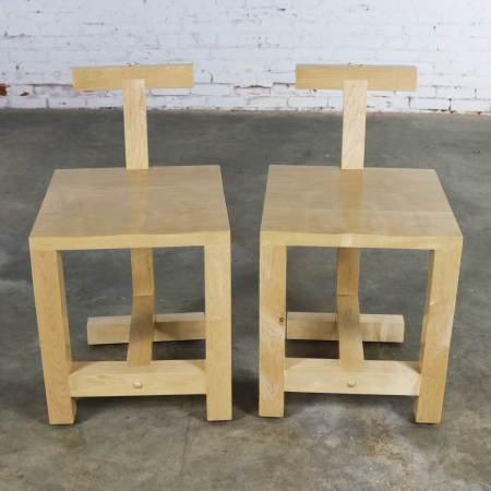 Pair Post-Modern Hand-Crafted Maple Chairs Signed Brice B. Durbin 1996