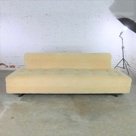 Mid Century Modern Convertible Sofa Bed with Button Detail in Oatmeal Colored Mohair