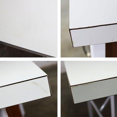 Mid Century Modern Desk by Robert John Co. Walnut White Steel Frame & Laminate Top