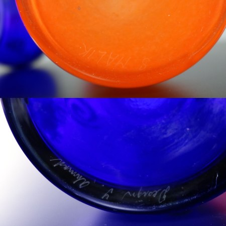 Czech Cobalt & Orange Hourglass Art Glass Vases Shafaq Malik Ahmed for Barovier & Toso