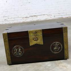 Antique Korean Trunk Chest or Box Circa 1920s with Luck and Longevity Characters