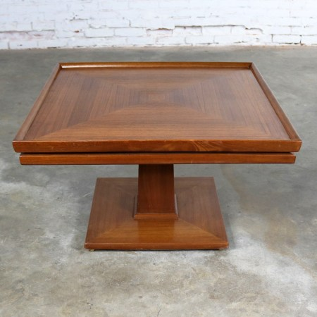 Erwin Lambeth Mid Century Walnut Square Pedestal Side End or Lamp Table