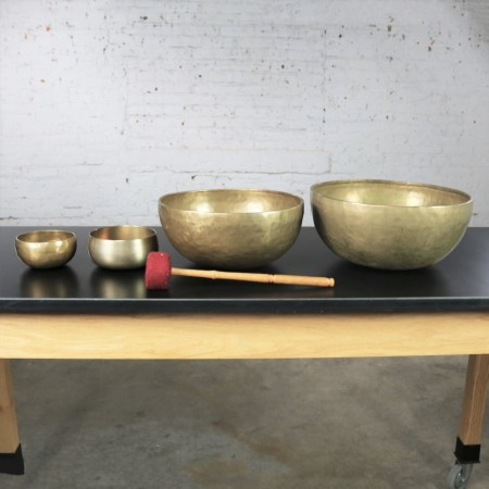Vintage Set of 4 Bronze Nesting Singing Bowls or Standing Bowls with Mallet