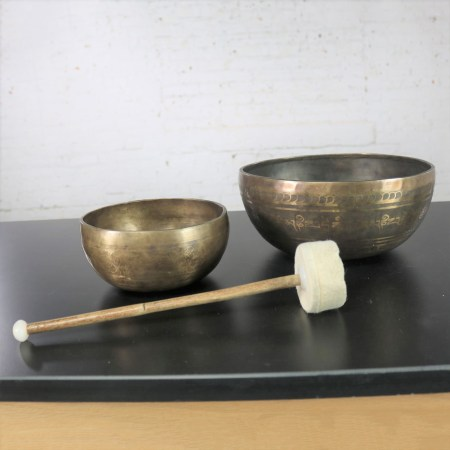 Vintage Set of 2 Bronze Nesting Incised Singing Bowls or Standing Bowls with Mallet