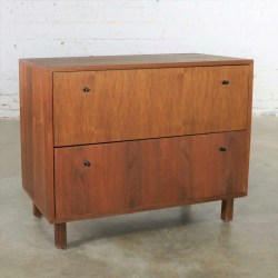 Mid Century Modern Two Drawer Lateral File Cabinet in Walnut by Hardwood House Inc.