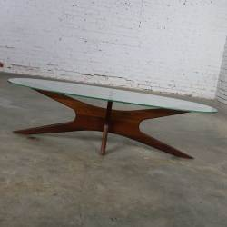 Adrian Pearsall Walnut and Glass Jacks 893-TGO Oval Coffee Table Mid Century Modern