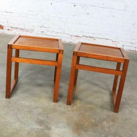 Vintage Scandinavian Modern Pair of Square Open Cube Side Tables in Teak