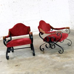 Spanish Revival Mediterranean Style Wrought Iron Lounge Chairs After Artes de Mexico