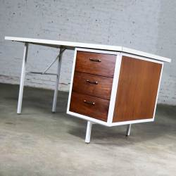 Mid Century Modern Desk by Robert John Co. Walnut White Steel Frame & Laminate Top