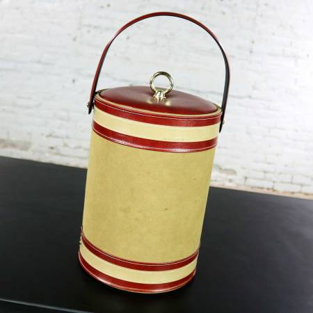 Vintage Ice Buckets Signed George Briard Burnt Orange Vinyl & Tan & Rust Faux Leather Your Choice