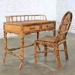 Tortoise Shell Rattan Desk Vanity Table And Chair Set Warehouse 414