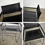 Vintage Chrome Black Vinyl Faux Leather Sling Director S Chairs Straight Legs A Pair Warehouse 414
