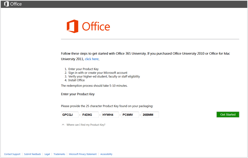 microsoft office with the product key