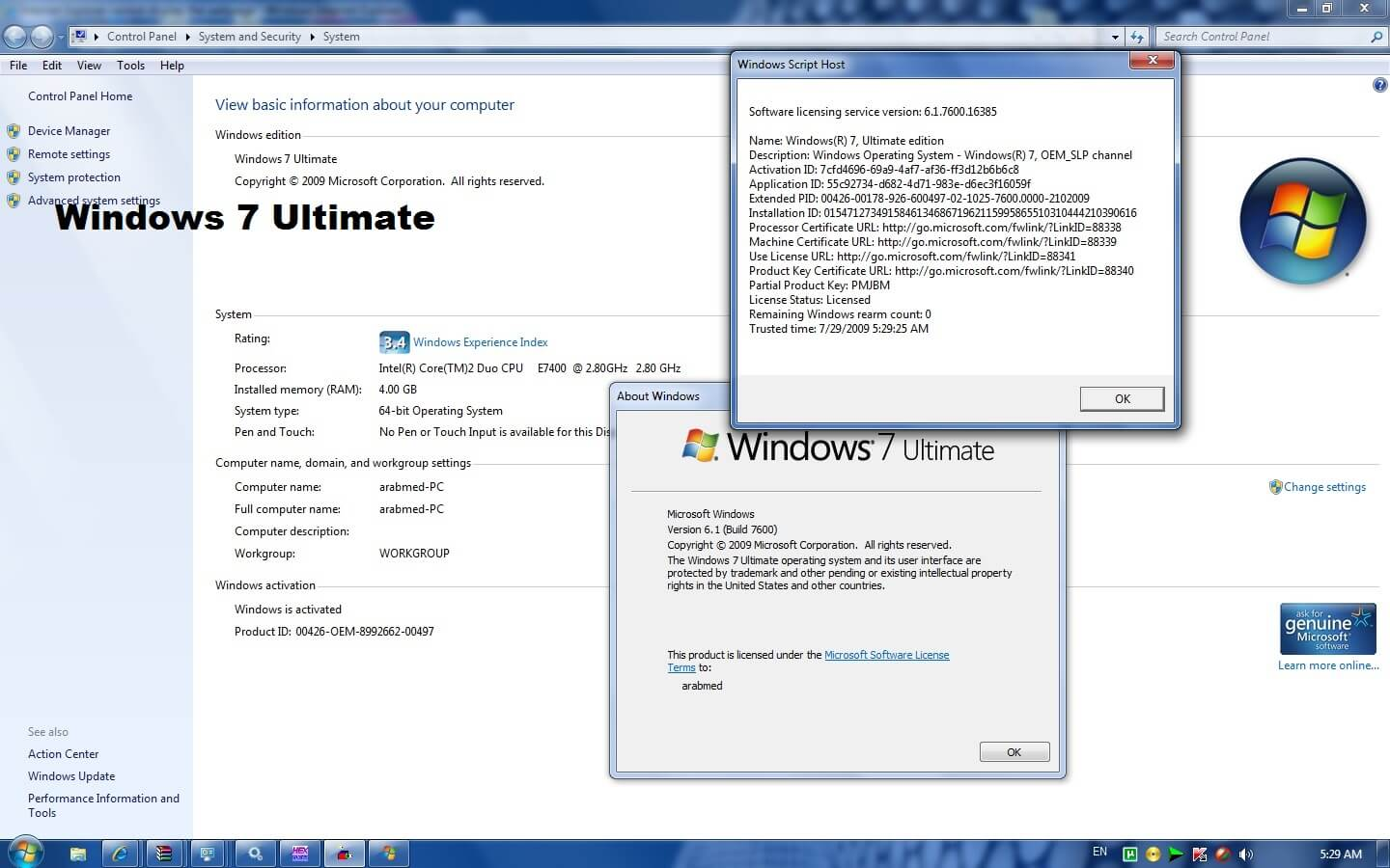 Windows 7 Ultimate Serial Key 64 Bit 100% Working Free