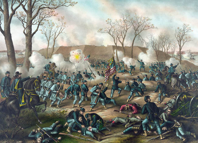 Victorious Union troops assault Fort Donelson in northwestern Tennessee in February 1862. Johnson avoided the mass surrender of Confederate forces there by sneaking away unnoticed through the woods.