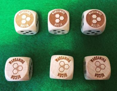 $18 USD for six wooden custom Wargaming Recon six-sided dice