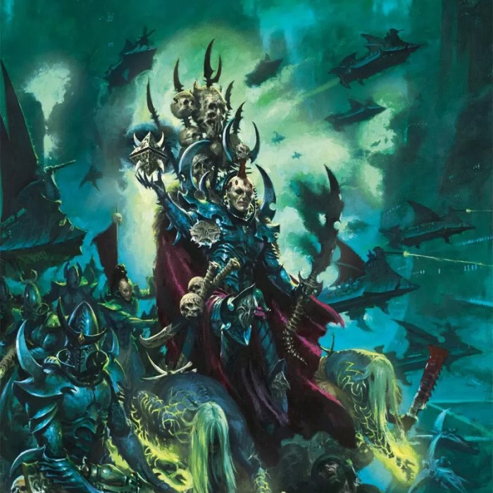 An Archon leads the forces of his Kabal, ancient tech in hand, ready for another realspace raid.