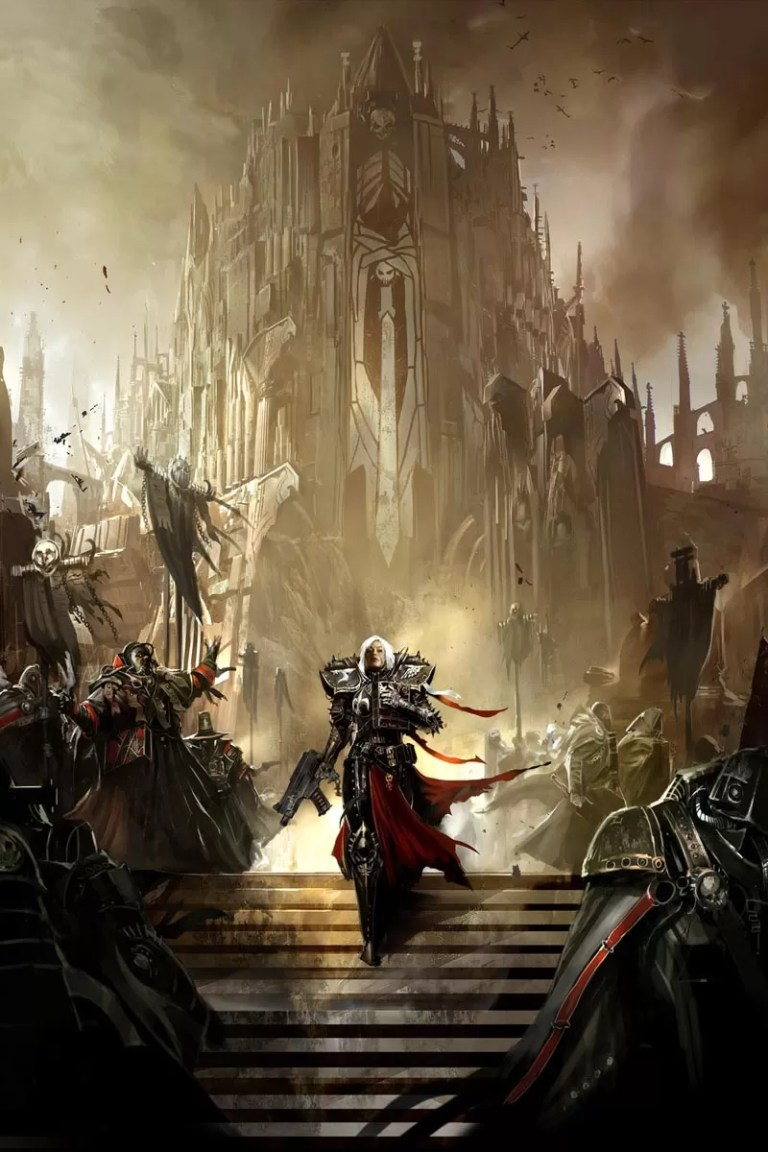 This image depicts the Sisters of Battle in front of one of their warrior cathedrals. The image was featured on the cover of Blood of Martyrs, an expansion for the Dark Heresy RPG game from Fantasy Flight Games.