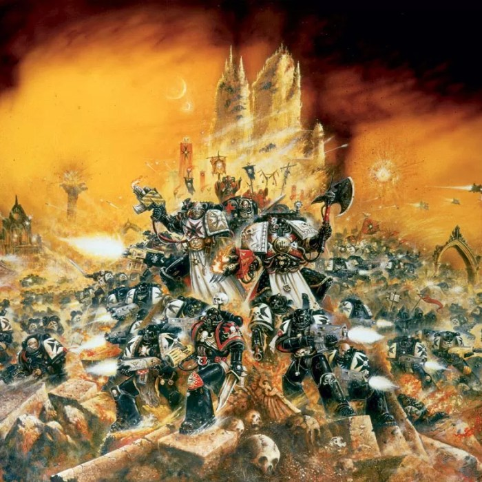 Space Marines of the Black Templars Chapter.