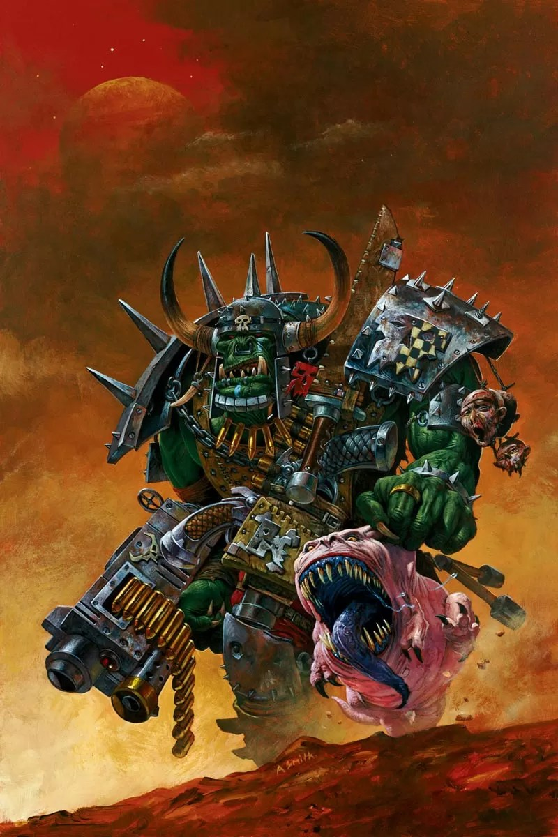 An Ork Warboss with Attack Squig.
