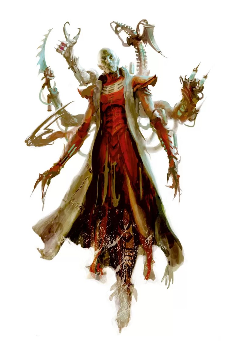 The flesh sculptors of the Dark Eldar create twisted, mutated henchmen to do the bidding of their Archon overlords. Artist – Paul Dainton Released – 2014