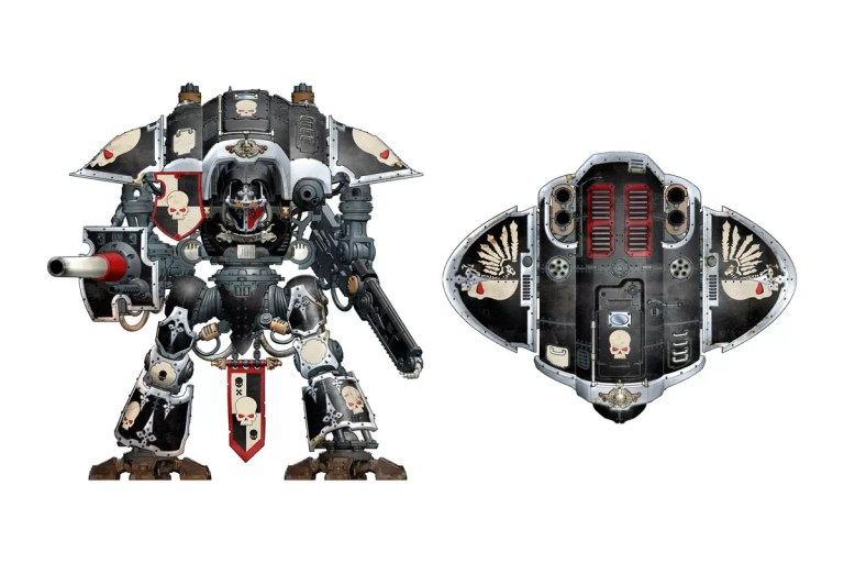 An Imperial Knight Freeblade. These Knights have spurned their house hold and set off on an individual quest, adopting unique markings and personal heraldry to mark them out on the battlefield. Released – 2014