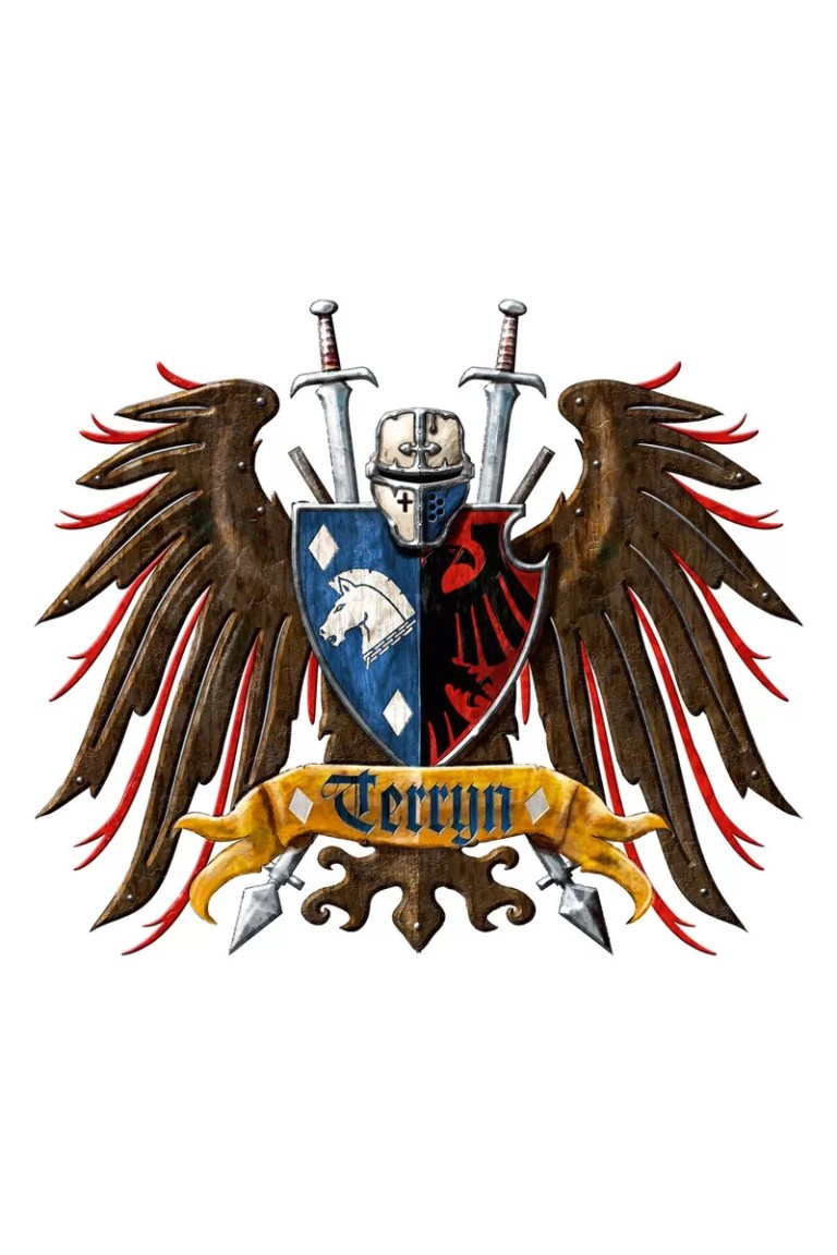 The Heraldic Crest for House Terryn. It is believed that when House Terryn was founded, the Nobles chose the sapphire hue of their livery from the beautiful azure oceans of their home world, Voltoris. Released – 2014