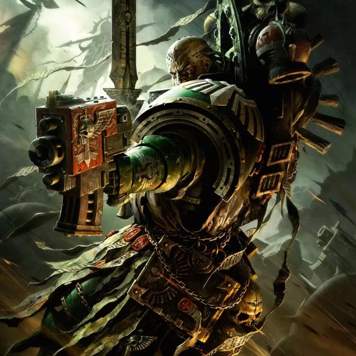 Arrayed in the dark green livery and trappings of his Chapter, this veteran warrior is an exemplar of his kind.