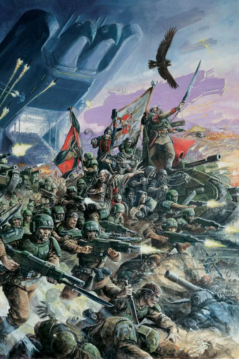 The Cadian Armoured regiment make planetfall. Of particular note are the inclusion of the twin headed cyber-eagle and the cyclopean Imperial Landers in the background.