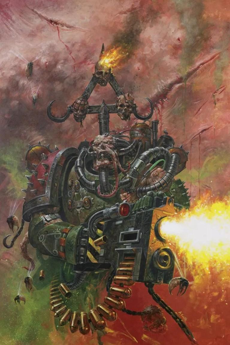 A Nurgle Worshipping Chaos Plague Marine.