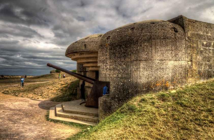 Gun emplacement in the German WW II Atlantic Wall.