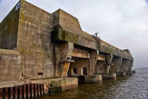 WW II German U-boat submarine pen at Lorient, France.