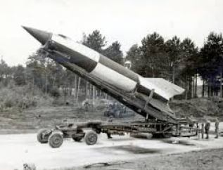 German WW II V-2 missile with mobile launcher.