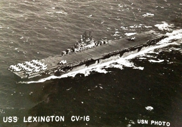 Aerial view of the U.S.S. Lexington aircraft carrier.