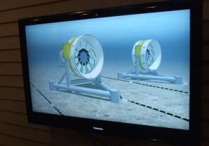 TV footage of OpenHydro turbines.