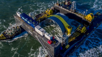 Cape Sharp photo showing turbine deployment in November